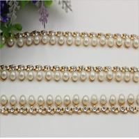China Precise design high end pearl and diamond style light gold 90 mm length purse metal chains wholesale