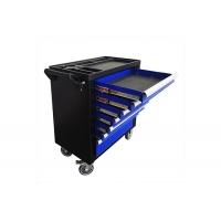 China Movable 770x460x887mm 36 inch 7 Drawer Tool Chest Cart Cabinet Trolley With Door Blue wholesale