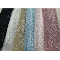 China Blue Shiny Embroidered Leaf Lace Fabric With Beads And Sequins 120CM Width wholesale