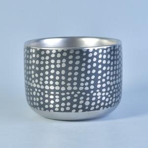 China Custom Silver Ceramic Candle Holders / ceramic pillar candle holders 520 ml wholesale
