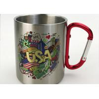 China 350ml Stainless Water Cup With Carabiner / Stainless Steel Cups Color Logo Customized wholesale