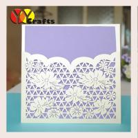 China White flower handmade paper custom laser cutting wedding invitation cards with printing wholesale