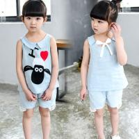 China 2016 Fashion Girl Kid's Clothes Set Little Sheep Sleeveless Tops+ Short Pants Jeans T309 wholesale