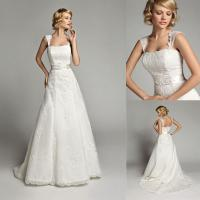 China Custom Lace Cap Sleeve Wedding Dresses Court Train with Beads Flower Applique on sale