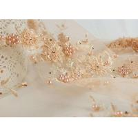 China Flower Design Pearl Embroidery Beaded Tulle Fabric By The Yard For Haute Douture wholesale