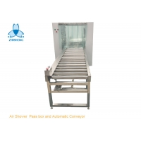 China Cleanroom Steel Air Shower Pass Box And Automatic Roller Conveyor wholesale
