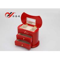 China Simple / Compact Small Wooden Jewellery Box Organizer Easy Clean With 2 Drawers wholesale