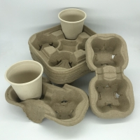 Buy cheap Coffee Cup Tray Biodegradable Pulp 2&4 Paper Cup Carriers For Take Away Shipping from wholesalers