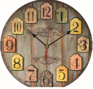 China modern antique vintage wooden retro vintage large MDF rustic custom elderly farmhouse decoration wall clock for sale wholesale