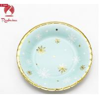 China disposable decorative hotel/party/festival/dinner customize colored printing paper plate on sale