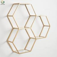 Living Room Wall Decoration Gold And Glass Geometry Set Wall Shelf