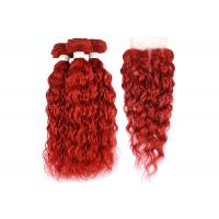 China Brazilian Red Water Wave Hair Extensions Bundles With Closure Curly Human Hair Bundles With Closure wholesale