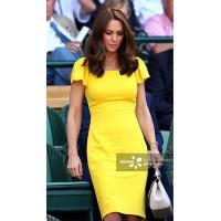 China Kate Middleton Same Yellow One Step Dress Lotus Leaf Short Sleeves Celebrities High Quality Elegant Falbala Dress For F wholesale