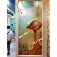 China Engraved Decorative  Glass Partition Wall on sale