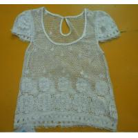 China 100% Cotton Womens Fashion Tops Floral Lace Top Round Neck Short Sleeve wholesale