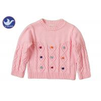 China Long Sleeves Girls Cable Knit JumperCrew Neck Pullover Style Anti - Pilling wholesale