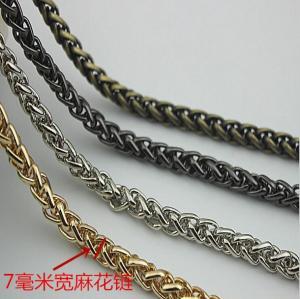 China Super quality cheaper twist flower light gold 7 mm width iron metal handbag chain wholesale