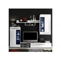 China Living Room Entertainment Centers Wall Units , White High Glossy Wooden Tv Cabinet  wholesale