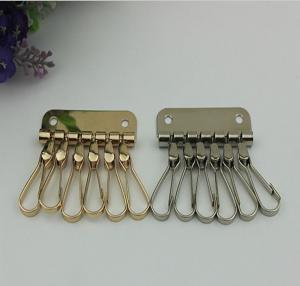 China Cheaper Customized Iron Nickel Color Zipper Crocodile Leather Key Case Card Holder Hook 6 Keychain wholesale