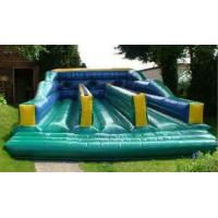 China Green Three Lanes Bungee Trampoline Inflatable Amusement Park For Sport Games on sale