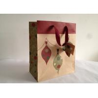 China Eco Friendily 150gsm Brown Kraft Carrier Paper Bags with Ribbon and Tags Printed wholesale