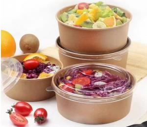 China 1100ml 165*144*65cm Brown Kraft Paper Disposable Lunch Box For Salad Food Container wholesale