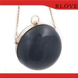 China Fashion hardware accessories custom gold round shape evening bag plastic box metal frame wholesale