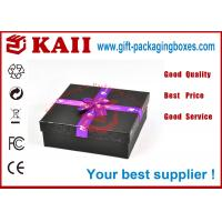 China Black Square Gift Packaging Boxes With Lids / 157g Ivory Board Paper wholesale