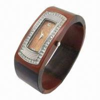 China Natural Wooden Watch Manufacturer with High-quality Wooden Case/Strap, CZ Stone Bezel wholesale