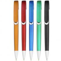 China metallic looking click promotional gift logo printed plastic ball pen, logo plastic ball pen wholesale
