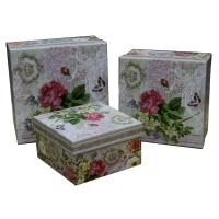 China Square Keepsake Gift Boxes Bottom Paper Cardboard Flower Pattern wholesale