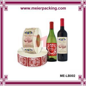 China Elegant design roll bottle label sticker, bottle label printing ME-LB002 wholesale