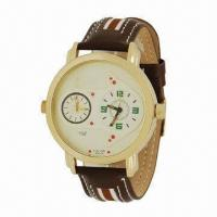 China Double Movement Watch with Leather Strap and IPG Plating, Metal Case, Japanese Movement wholesale