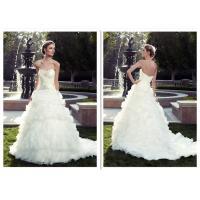 Custom Made Fitted A Line Wedding Dress / Classic Sparkly Ball Gown Wedding Dress