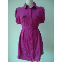 China 100 Viscose Purple Button Up Blouse Dress , Waist Belt Office Shirt Dress OEM Available wholesale