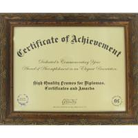 "China 11""X 8 1/2"" Opening Wooden Document Frame , Antique Golden Wood Certificate Frames wholesale"