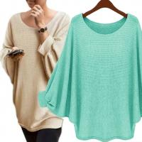 China Solid Color Batwing Sleeve Jumper High Low Pullover Sweater Casual Clothes wholesale