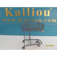 China Wire foldable basket shopping trolleys for disabled , 4 swivel flat casters wholesale