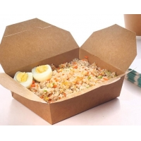 China PE Film Coated Kraft Paper Lunch Box , 1100ml Oil Proof Disposable Packing Box wholesale