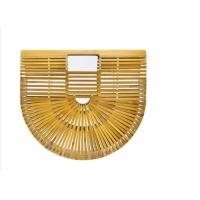Ins Popular Women Charcoal Rattan Bamboo Clutch Bag , Open Closure Bamboo Handbag