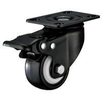 China Small Furniture PU Caster Wheel With Swivel Plate Total Locking Black Bracket wholesale