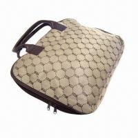 China Fashionable computer handbag with zipper closed and two pull made of jacquard polyester wholesale