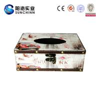 China Muticolored Canvas Printing Wooden Box/ Tissue Box/Paper Container for Paper Storage wholesale