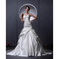 China White Thick Autumn couture V Neck Wedding Dresses Women drop waist Wedding gowns wholesale