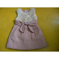 China Big Bow Waist 3 Year Little Girls Winter Dresses Sleeveless With Faux Leather Mini Skirt wholesale