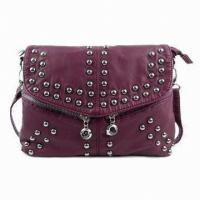 China Stylish Green / Red PU Leather Shoulder Bag Single Handle Bags Of Shiny Rivets on sale
