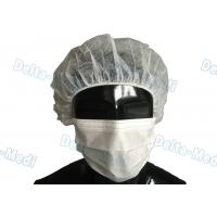 China White Disposable Bouffant Surgical Caps Round / Flat Elastic High Air Permeability wholesale