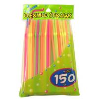 """China 8"""" Economy Kitchen Accessory PP Neon Flexibe drinking Straws 150 Count dia.5mm wholesale"""
