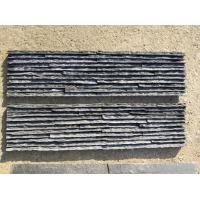 China Black Slate Mini Stacked Stone,Split Face Slate Thin Stone Veneer,Black Slate Waterfall Shape Ledgestone,Stone Cladding wholesale