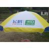 China Classic Oxford Advertising Patio Umbrellas , Yellow And White Six Foot Patio Umbrella wholesale